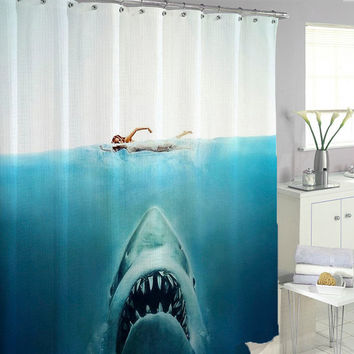 shark jaws Shower Curtains