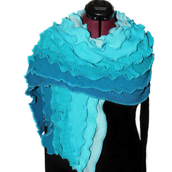 Scarf, Turquoise with Turquoise Seams