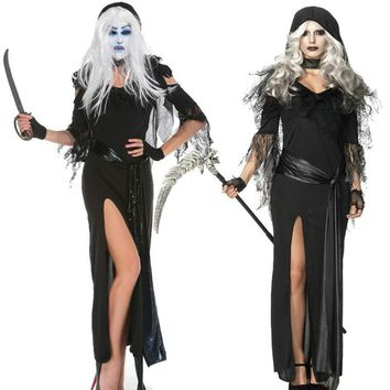 Premium Halloween Masquerade Gothic Costume Sexy Black Dress New Witch Witch Costume Ghost Game Uniform Halloween Ghost party co