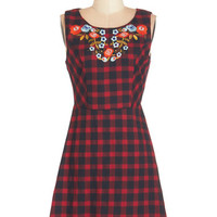 ModCloth 90s Mid-length Sleeveless A-line Little Haute on the Prairie Dress