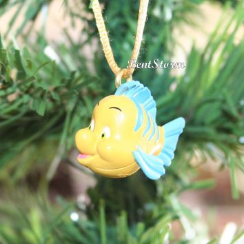 Licensed cool Custom Disney The Little Mermaid Ariel Flounder Fish Christmas Ornament PVC #2