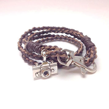 biker bracelet braided bracelet leather wrap bracelet boyfriend gift camera charm camera pendant brown wrap bracelet for him for her