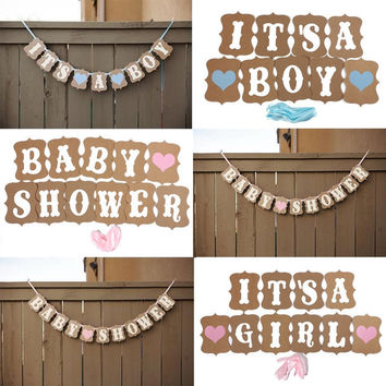 2015 Fashion Design Vintage Style Baby Shower Party Birthday Heart Banner Decoration Kraft Paper Ribbon