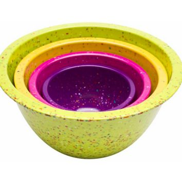 Confetti Nested Mixing Bowls (4-piece Set) - Assorted flora. Environmentally Friendly. Use for Mixing or Serving.