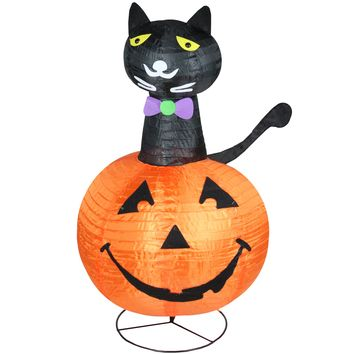 "36"" Pre-Lit Orange and Black Cat on a Pumpkin Halloween Outdoor Decoration"