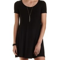 Black T-Shirt Shift Dress by Charlotte Russe