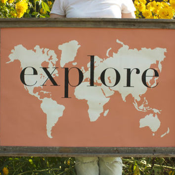 explore Giant Modern World Map Print Poster - 24x36 - coral