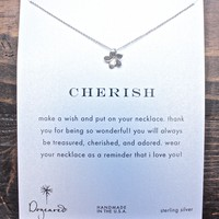 dogeared Reminders necklace Cherish-Plumeria Charm in sterling silver