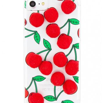 Cherry Pom Pom iPhone Cell Phone Case - Fits iPhone 6/6s + 7