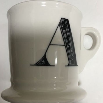 Anthropologie Monogram Ceramic Coffee Cup Mug Personalized Name Letter Initial A