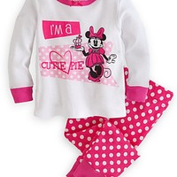 Disney Store Minnie Mouse Cutie Pie PJ Pajama 100% Organic Cotton 6 - 12 Months
