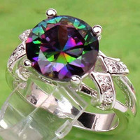 Mystic Topaz/ White Topaz Silver Ring/ ROYAL cocktail ring / FREE SHIPPING