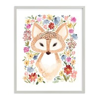Sweet Floral Fox Wall Art by Minted®