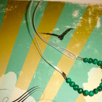 Emerald Beaded Necklace with Ribbon Chain