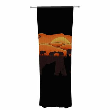 "Eikwox ""African Elephant"" Brown Orange Illustration Digital Animal Print Nature Decorative Sheer Curtain"