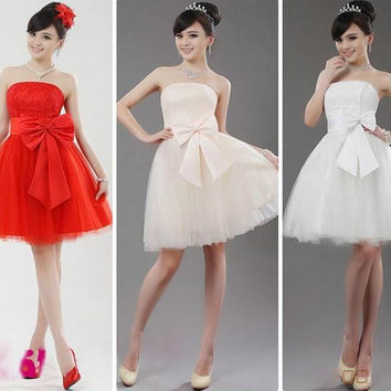 Fashion Red White Short Skirts bridesmaid wedding dresses Bride Bow Dress Gown
