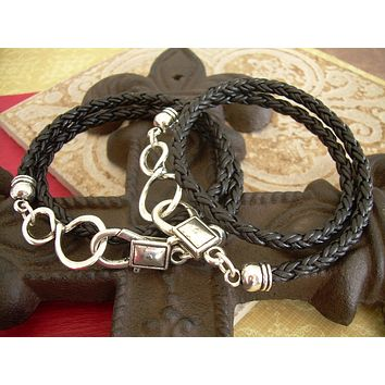 His and Hers Set of  Infinity Bracelets, Leather Bracelet, Mens Bracelet, Womens Bracelet, Infinity, Infinity Bracelet