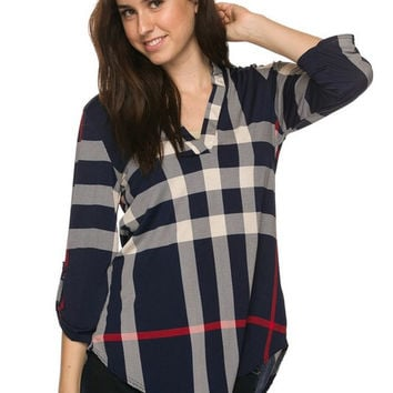 Plaid V-Neck Top - Navy