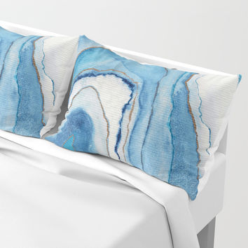 AGATE Inspired Watercolor Abstract 02 Pillow Sham by ViviGonzalezArt