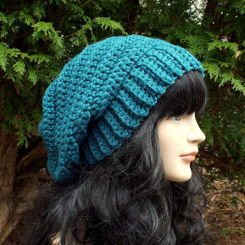 Teal Blue Slouchy Crochet Hat - Womens Slouch Beanie - Ladies Oversized Ribbed Cap - Chunky Hat