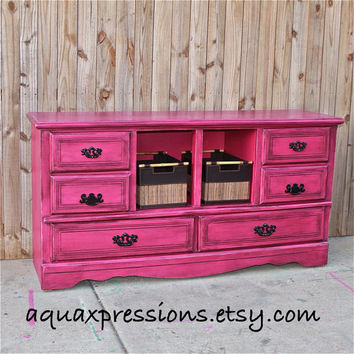 Magenta Pink Dresser/ Distressed/ Vintage/Bedroom Furniture/ Dresser/ TV Stand/ Storage/Changing Table
