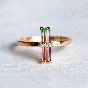 Watermelon Stone Rose Gold Ring