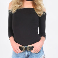 Black Cut Away High Neck Zipper T-shirt -SheIn(Sheinside)