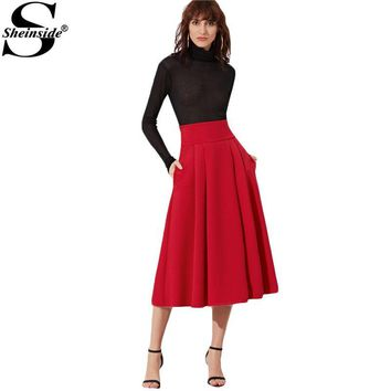 Sheinside Pleated Midi Skirt Women Red Wide Waistband Side Zip Box Skirts 2017 New Fashion Spring Elegant Ladies Long Skirt