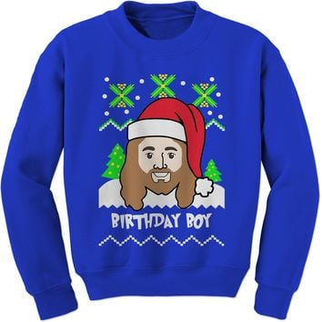Jesus Birthday Boy Ugly Christmas Adult Crewneck Sweatshirt