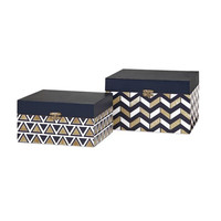 Attractive Set of 2 Nora Navy and Gold Boxes