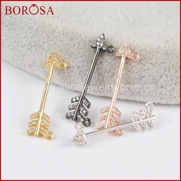 BOROSA new arrowhead connectors bead drusy pendant micro pave cubic zirconia druzy arrow head connector with double bails WX427
