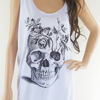Skull Flowers Art Design Zombie Tank Top Women T-Shirt Skull Shirt White T-Shirt Tunic Screen Print Size M