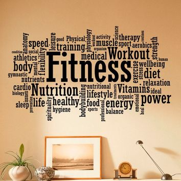 Fitness Wall Decal Vinyl Stickers Sport Gym Words Interior Home Design Art Murals Wall Graphics Decor Made in US