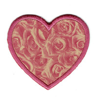 Rose Print Heart Patch