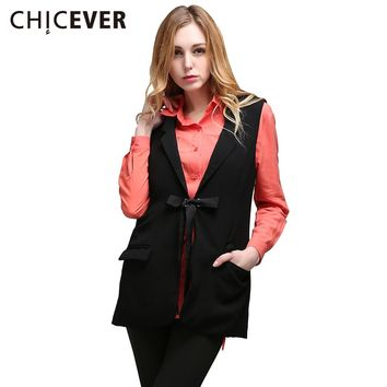 Black Female Vest Sleeveless Blazer Coat Waistcoat For Women Cardigan Lace Up Casual Clothes Autumn New