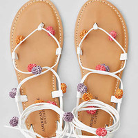 AEO Lace-Up Pom Pom Sandal , Multi