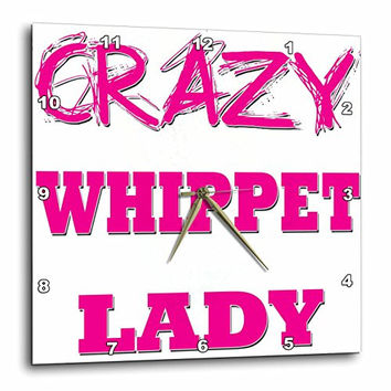 3dRose dpp_175337_1 Crazy Whippet Lady-Wall Clock, 10 by 10-Inch