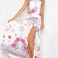 White Halter Floral Print Tie Back Split Maxi Dress