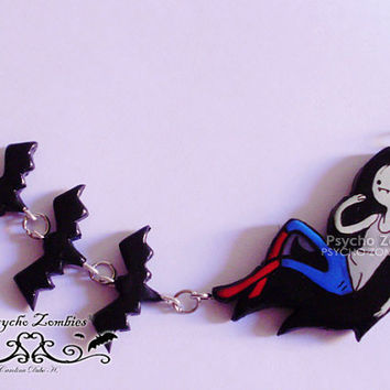Marceline and bats from Adventure time necklace (Made to order)