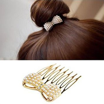 TS260 Fashion Simulation Pearl Bow Insert Comb Hair Comb Bangs Jewelry Accessories Headwear