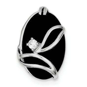 Sterling Silver Rhodium Plated Onyx and CZ Slide QP470