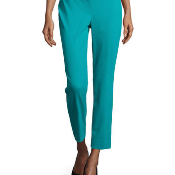 Straight-Leg Cropped Pants, Peacock Blue, Size: