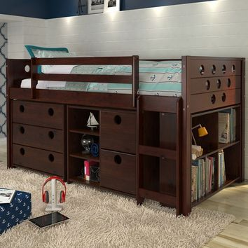 Tristan Loft Bed with Storage, Bookshelves, and Dresser in One