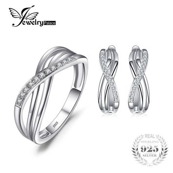 Jewelrypalace Infinity Knot Ring Earring Anniversary Wedding Engagement Solid 925 Sterling Silver Jewelry Set Brand Fine Jewelry