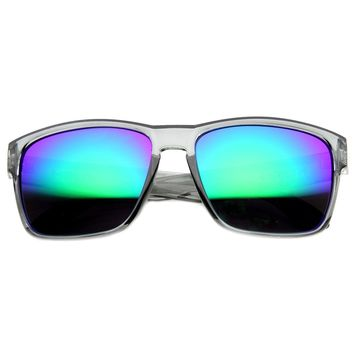 Crystal Action Sports Square Frame Sunlasses with Flash Lens
