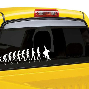 Snow board evolution car window decal sticker