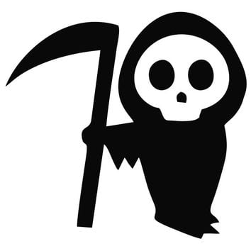 Cute Grim Reaper Die Cut Vinyl Decal Sticker
