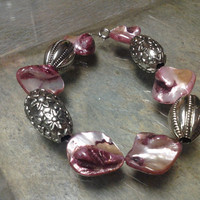 Pink Shell Glass Beads with Chunky Silver Accents