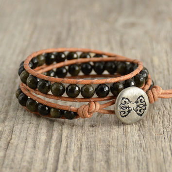 Black and brown wrap bracelet. Beaded bohemian jewelry