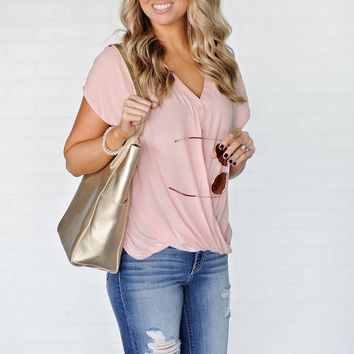 * Piper Button Down Faux Wrap Top : Blush